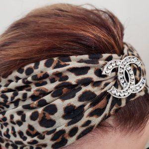"Initial - Letter"" C"" Leopard Print Headband"